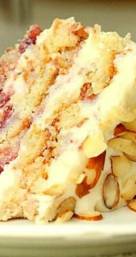 Strawberry Almond Layer Cake ~ To die for... You will not regret making this cake