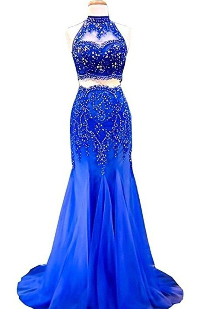 Blue chiffon sequins prom dress, two pieces dess, cute mermaid dress for prom 2017