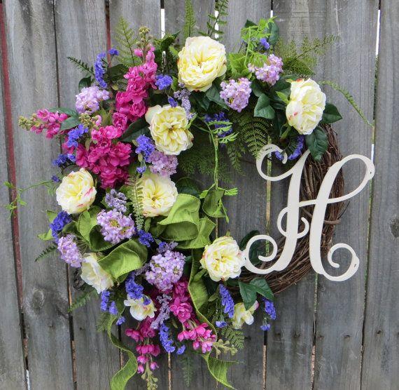 Door Wreath Monogram Wreath Formal Garden Wreath by HornsHandmade
