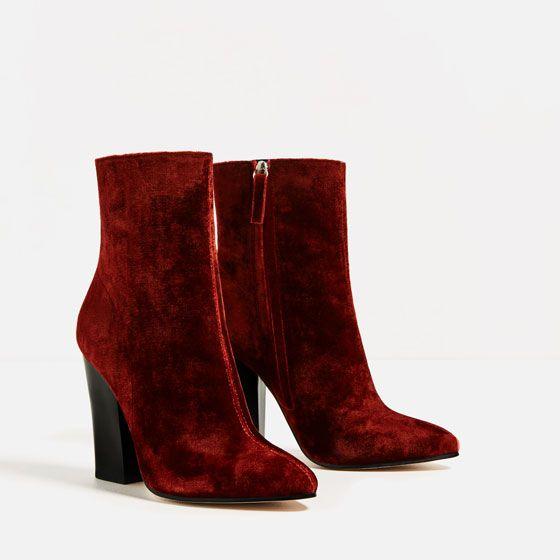 Image 3 of VELVET HIGH HEEL ANKLE BOOTS from Zara