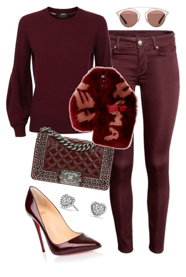 """Fine Wine"" by divamanda on Polyvore featuring Christian Louboutin, Burberry, David Yurman, Chanel, Fendi and Christian Dior"