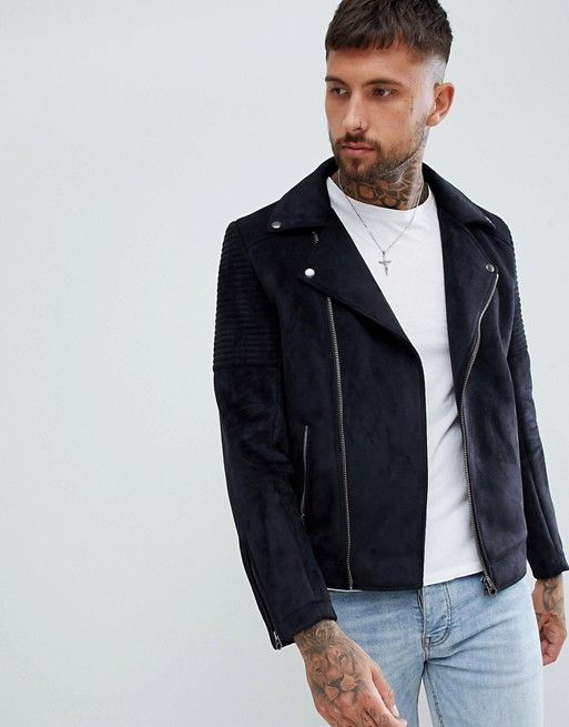 b9a6196f716 DESIGN faux suede biker jacket in black | Christmas List | Faux suede biker  jacket, ASOS, Jackets