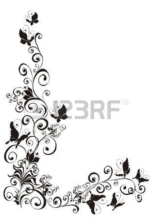 Sfondo astratto con farfalle e ornamento floreale Archivio Fotografico - 16293052