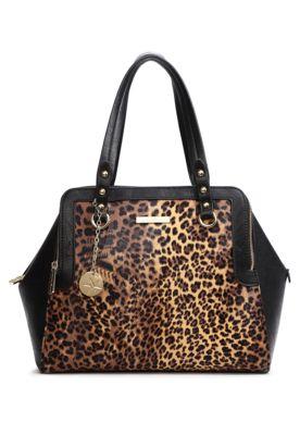 Bolsa Adriane Galisteu Animal Preta, com recorte animal print, tag em metal e alça de mão. Possui estrutura com três compartimentos principais, bolsos pequenos e fecho em zíper.Altura28cm Largura33cm Profundidade18cm