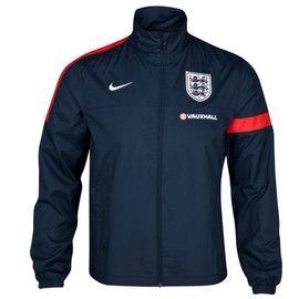 England Navy Sideline Jacket 2013 - 2014 will go nicely with the England football shirt as the colors will contrast with the home and away football shirts, this is a cool jacket that can be worn anywhere, at Soccer Box we have more England merchandise http://www.soccerbox.com/england-football-shirts-jerseys