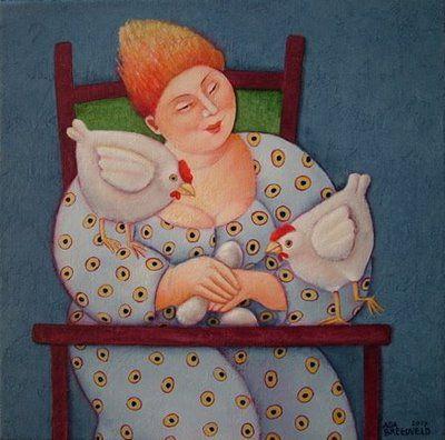"""Chickens by Ada Breedveld  >> From the board by Leif Sodergren, """"BIRDS."""""""