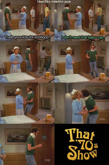 Love That 70's Show! It may looked like he actually kissed her but it was on the cheek.