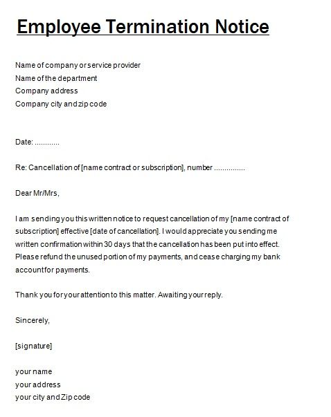 Termination Notice Template | Job Termination Notice Templates 4 Free Word Excel Pdf