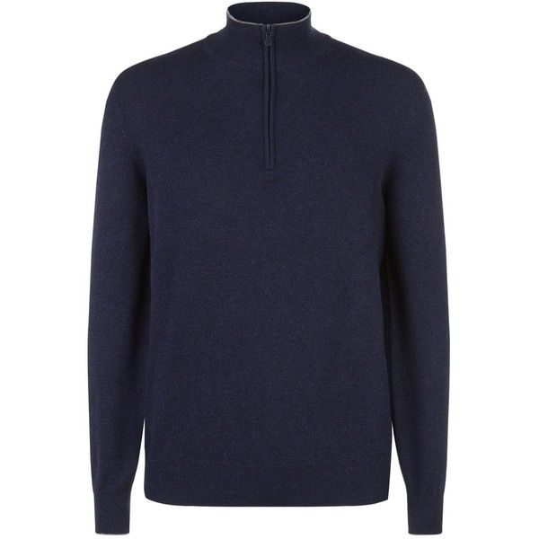 Brunello Cucinelli Half-Zip Cashmere Jumper ($1,225) ❤ liked on Polyvore featuring men's fashion, men's clothing, men's sweaters, mens cashmere sweaters, mens zipper sweater, mens lightweight sweaters, mens 1 2 zip sweater and mens half zip sweater