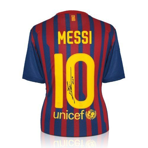 Lionel Messi Signed FC Barcelona Soccer Jersey by exclusivememorabilia.com. $449.99. This Barcelona Jersey was signed by Leo Messi on May 15, 2012 in Barcelona in a signing session organised and carried out by Exclusive Memorabilia. It is the style of Jersey worn by Leo while becoming Barcelona's record goalscorer of all time. Lionel is currently the world's best player and many believe he has already eclipsed Pele and Maradona to be regarded as the greatest o...