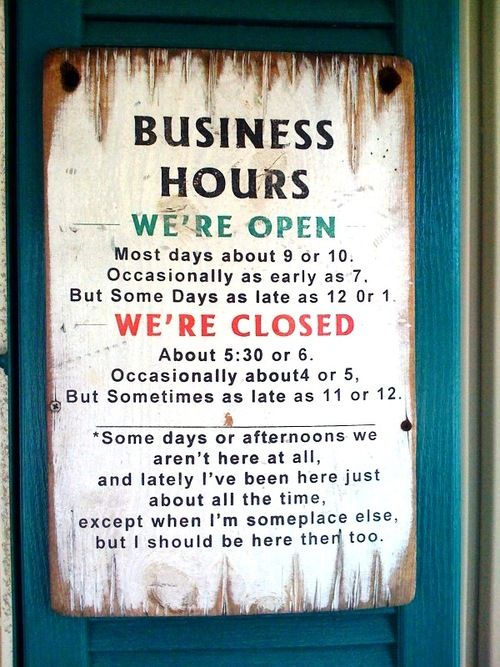 Hours sign