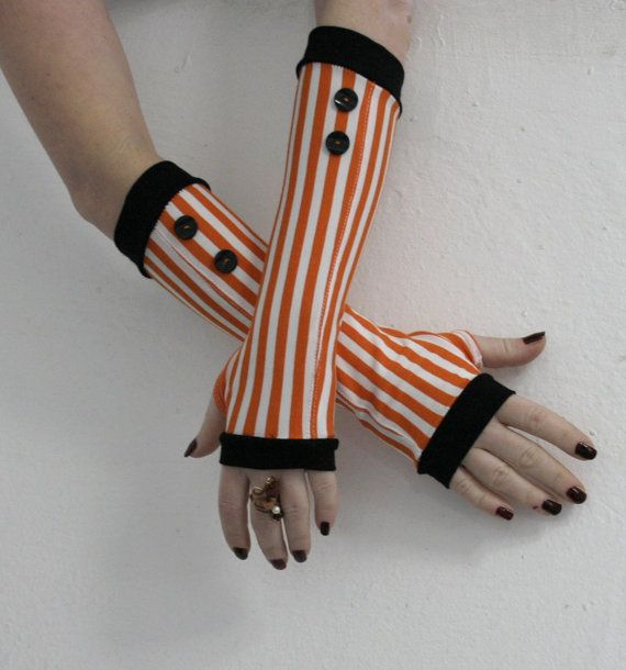 Very soft black and orange striped fingerless gloves mittens with black vintage buttons - gothic victorian