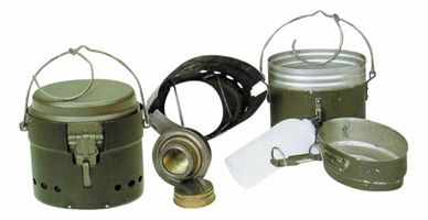 Swedish Army M/42 mess kit. Remember that if you find one without the expensive alcohol stove you can always make a good quality one from a Stainless Steel drinking bottle.