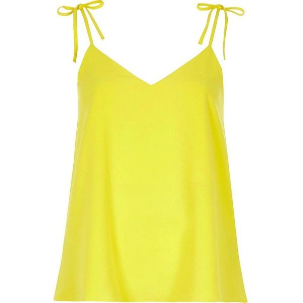 Yellow bow shoulder cami top ($19) ❤ liked on Polyvore featuring tops, yellow cami, loose tank top, yellow top, loose fit tank top and loose fitting tanks