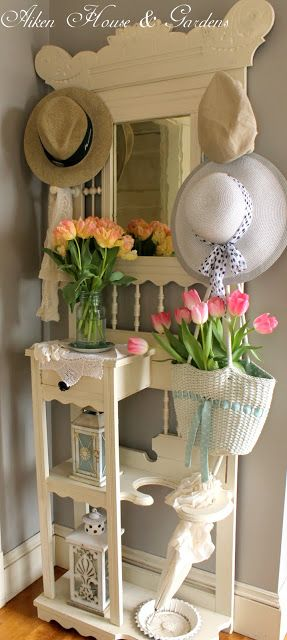 Shabby Chic. An inexpensive way to create a hall tree that would cost much more in the furniture store!