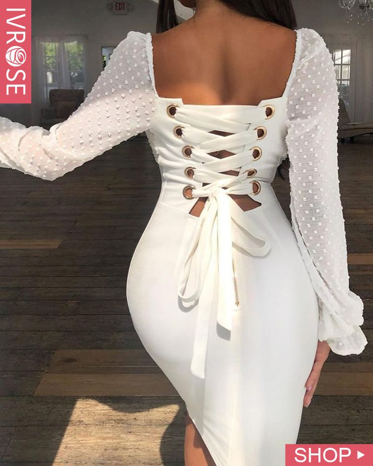 Dots Mesh Splicing Lace-Up Back Bodycon Dress