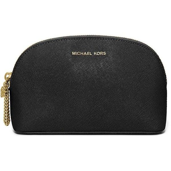 Michael Michael Kors Crosshatch Leather Cosmetic Bag found on Polyvore featuring beauty products, beauty accessories, bags & cases, black, toiletry kits, leather travel kit, leather toiletry bag, make up bag and toiletry bag