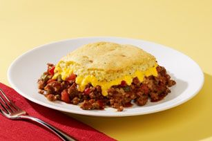 VELVEETA Cheesy Chili Cornbread Casserole Recipe - Kraft Recipes  Delicious and mostly canned and dried ingredients so a great back up dinner for when the pantry and fridge are running low