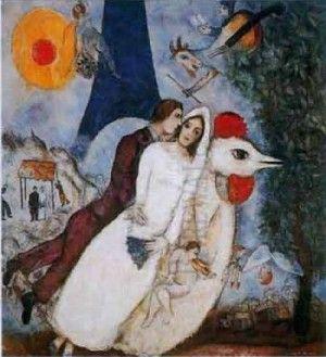 I fidanzati della torre eiffel - Chagall