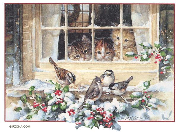 Christmas Kittens and Chickadees