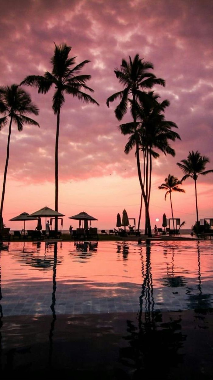 Tall Palm Trees In The Water Large Umbrellas Cute Quote Wallpapers Sunset Sky Sunset Wallpaper Landscape Wallpaper Beach Sunset Wallpaper