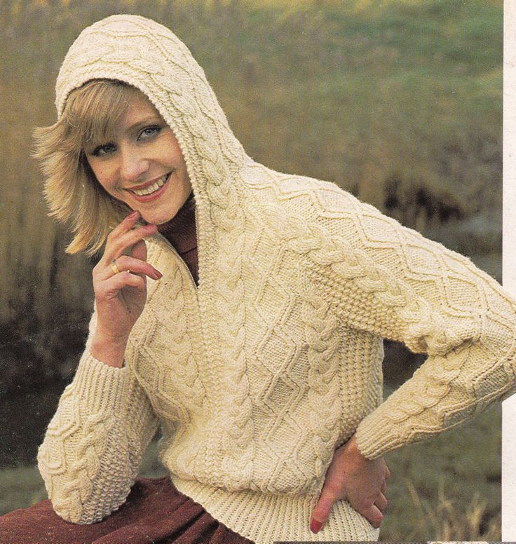 Zippered Hoodie Knitting Pattern : Vintage Knitting Pattern Instructions for a Ladies Aran ...