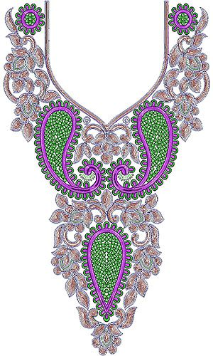Sequins & Cording Neck Embroidery Design