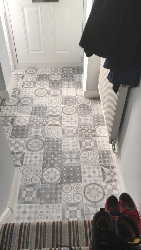 B And Q Lofthouse In Progress Patchwork Tiles Bathroom Kitchen Flooring Patchwork Tiles