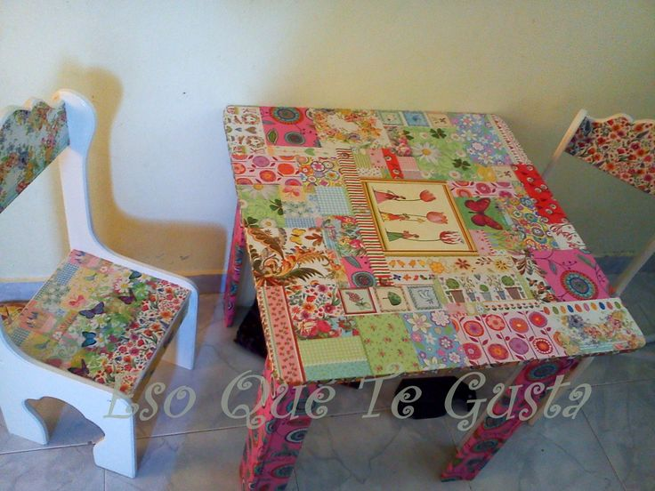 mesa y silla infantil de fibrofácil
