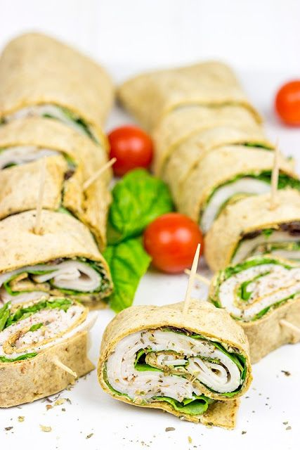 food drink: Turkey Pesto Pinwheels