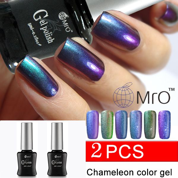 MRO 2 unids/lote 2016 nueva uñas de Gel uv color camaleón pintura camaleón unhas de barniz de uñas de gel profesional de uñas de gel polaco