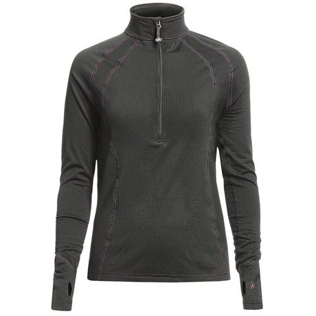 Ski Base Layer:  Terramar Grid Fleece Base Layer Top - Zip Neck, Long Sleeve (For Women)