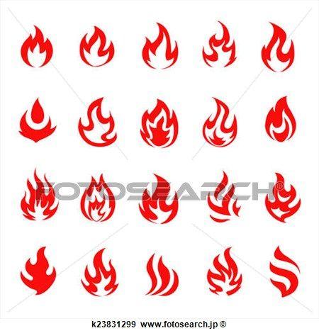 アイコン。炎のイラストのアイデア