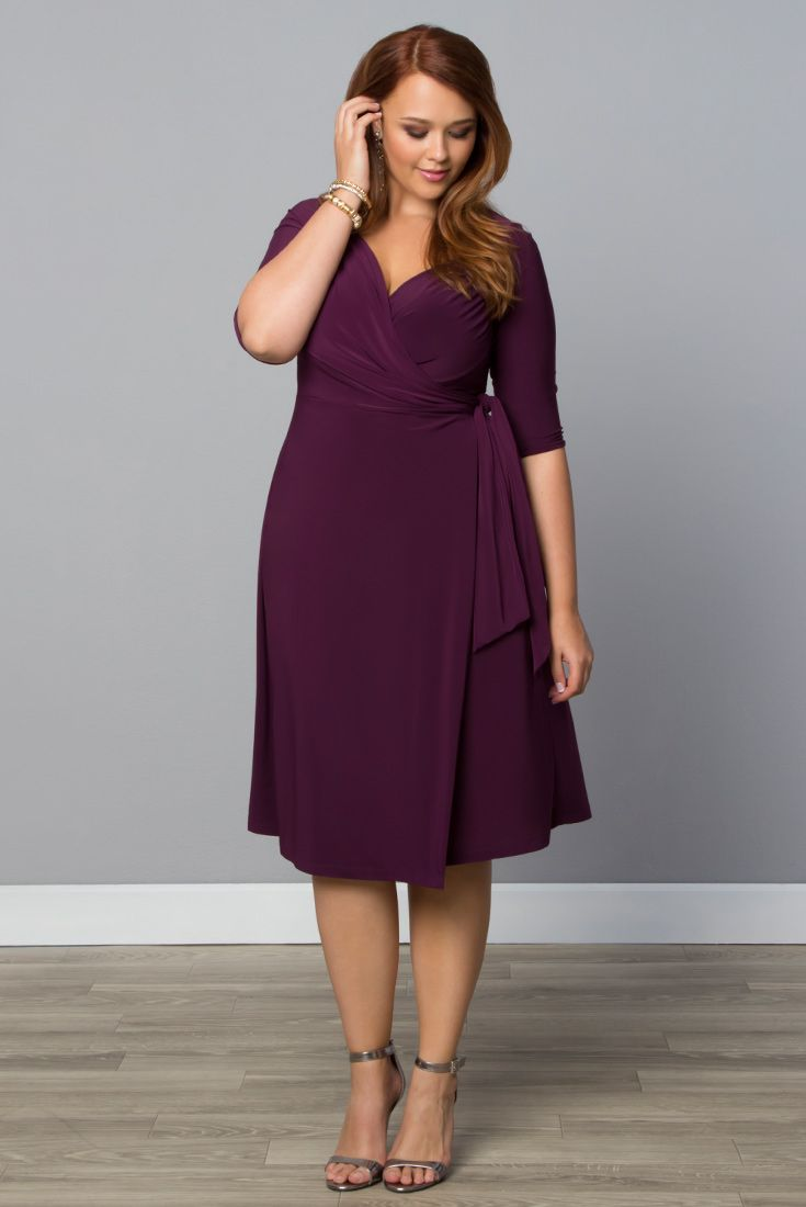 You'll inspire romance in our plus size Sweetheart Knit Wrap Dress. With its figure-flattering silhouette and sweetheart neckline, you'll feel alluring and sophisticated at any event. Browse our entire made in the USA collection at www.kiyonna.com. #kiyonnaplusyou