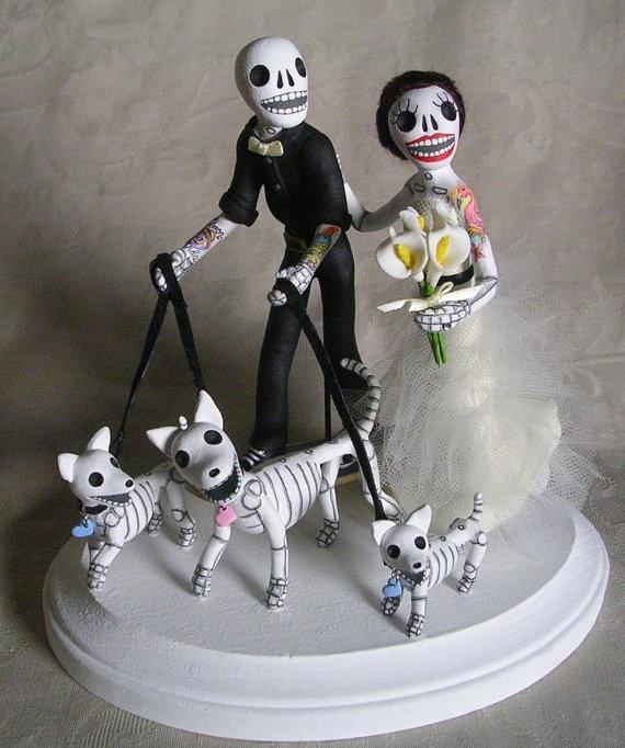 custom day of the dead wedding cake topper skeleton bride groom cute