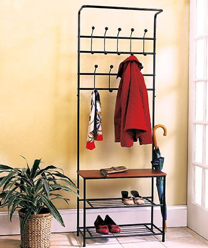 Metal Entryway Storage Bench with Coat Rack GetSet2Save http://smile.amazon.com/dp/B004XVJIVY/ref=cm_sw_r_pi_dp_G86yub0SJECY0