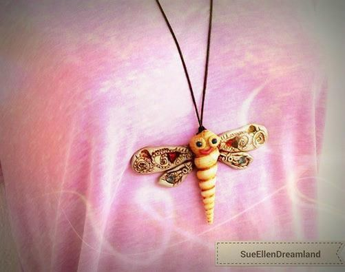 Sea shell pendant OOAK Dragonfly long pendant polymer clay