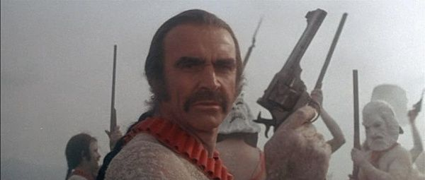 A publicity still of Sean Connery as Zed in all his glory holding the Webley. Description from imfdb.org. I searched for this on bing.com/images