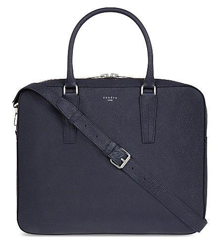SANDRO - Downtown leather briefcase | Selfridges.com