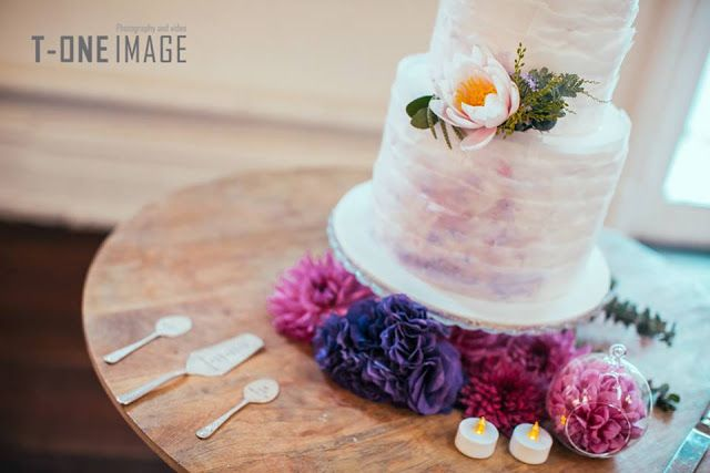 Sweet Bakes cake and flowers. Pinks and purples.