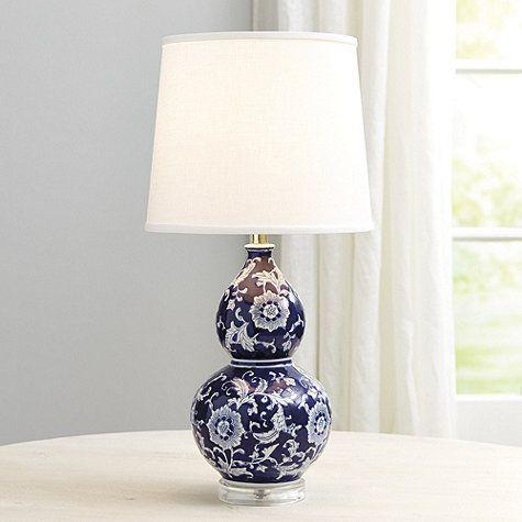 """blue + white double gourd table lamp   26.5""""H x 13""""DIA   ballard designs [159]"""