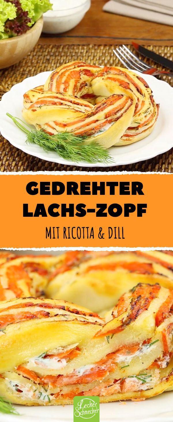 Gedrehter Lachs-Zopf. Mit Ricotta und Dill – optimal zum Oster-Brunch. #rezept #…