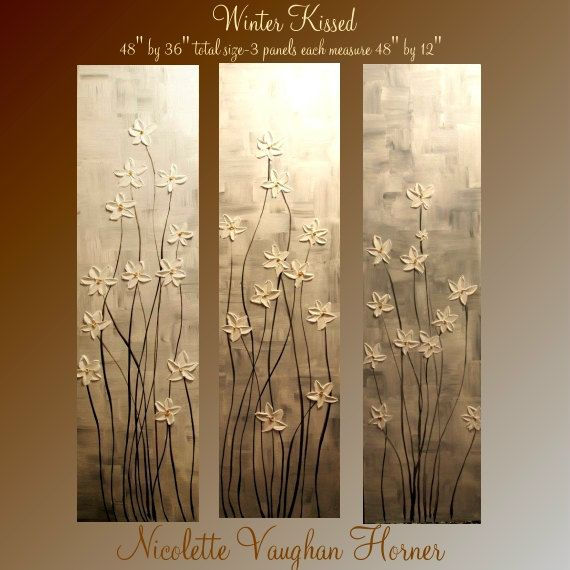 "Original 3 Panel Gallery canvas abstract  Landscape 48"" palette knife signature Impasto floral Oil painting by Nicolette Vaughan Horner. $299.00, via Etsy."