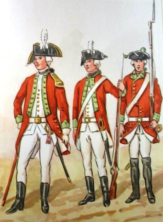 Infantry Regiment of   Callistus Poninski in 1775. From left to right: officer, private private. Fig. B. Gembarzewski.