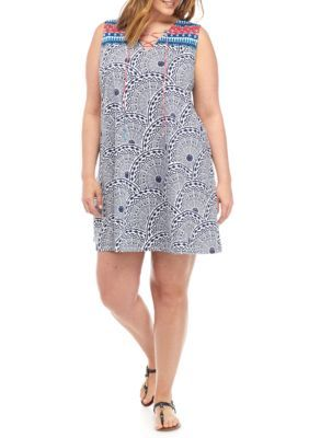 New Directions Weekend Women's Plus Size Printed Tie Neck Dress - Navy Medallion - 2X