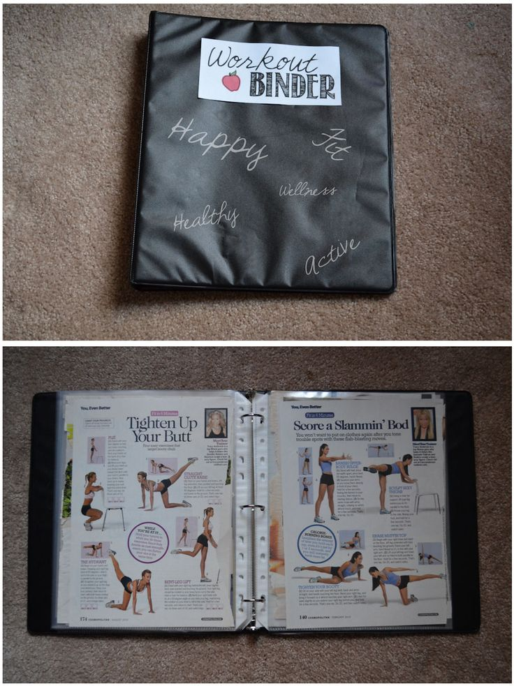 Motivational Workout Binder... this is a much better idea than the random magazine pages I have around my room.