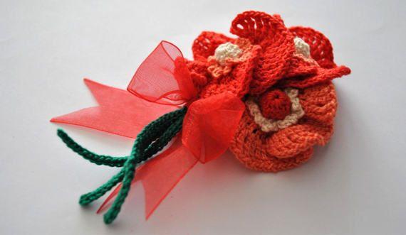 Crochet poppy flower broochHandmade jewelrySpring poppy by UpRo