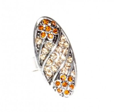Pierścionek Vintage z Miodowymi Kryształkami Owal #ring #vintage #pierscionek