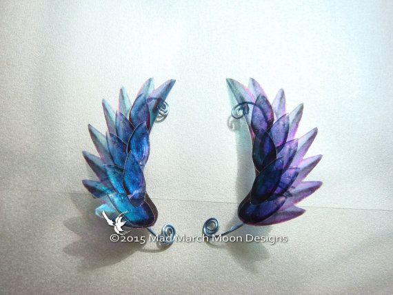 Dragon Maßstab Wing Ohr Manschetten blau von MadMarchMoon auf Etsy