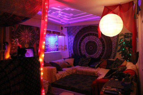psychedelic feel, I really dig the purple lights and tapestry